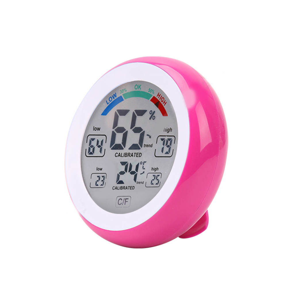 Temperature Humidity Meter Home Round Digital Hygrothermograph Pink