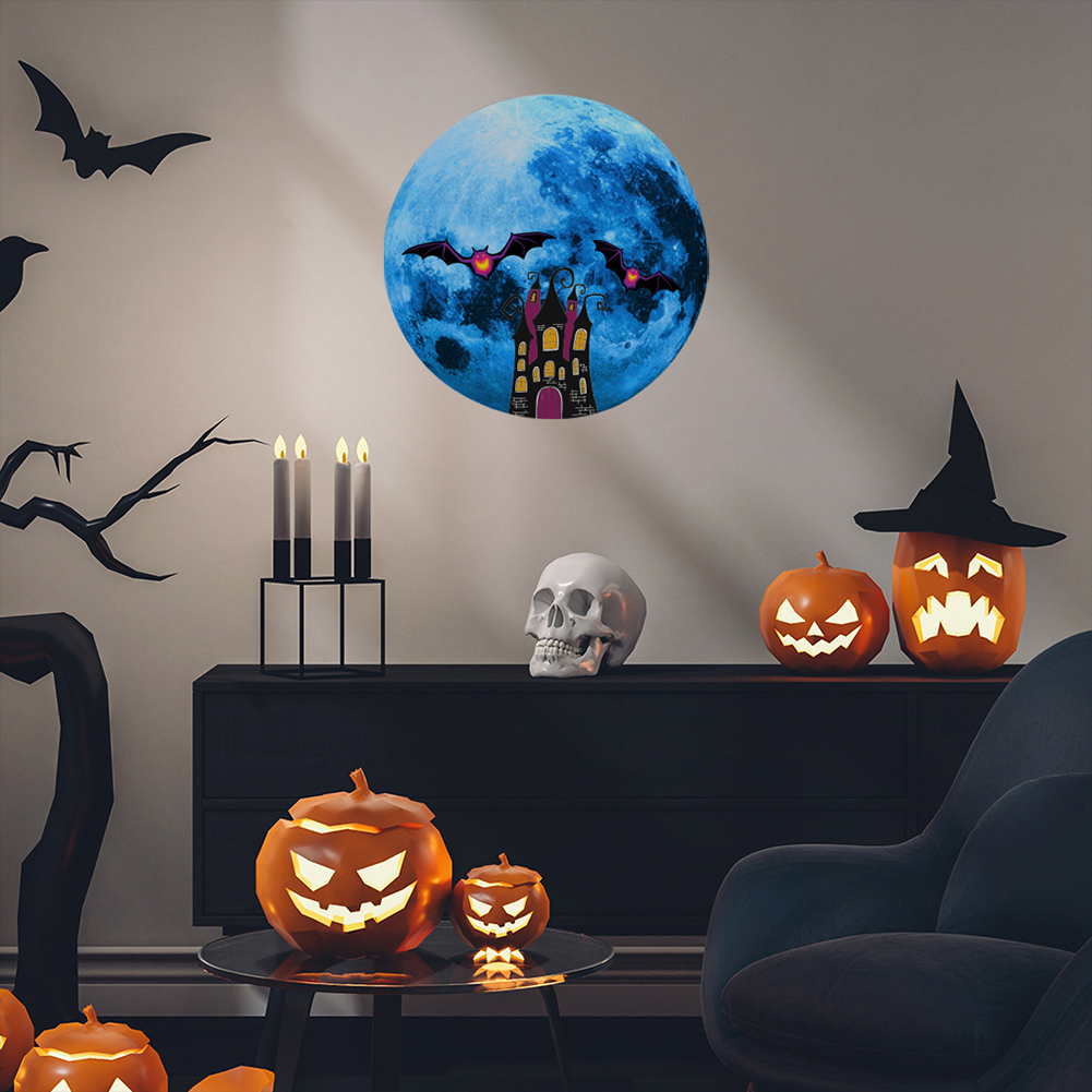 Luminous Blue Moon Wall Sticker Living Room Bedroom Decoration Glow In The Dark Wall Stickers 15G Haunted House