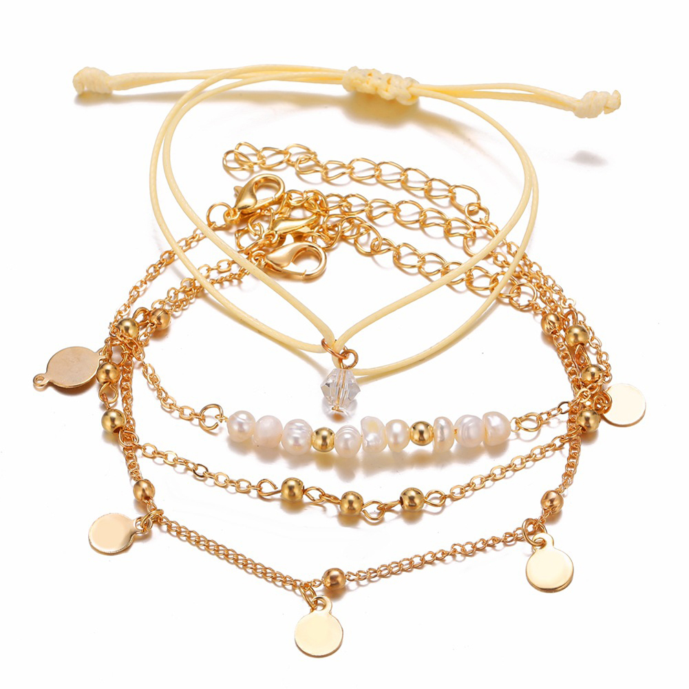 4 Pcs/set Women's  Bracelet Pearl Round-bead Retro Simple Style Bracelet Golden