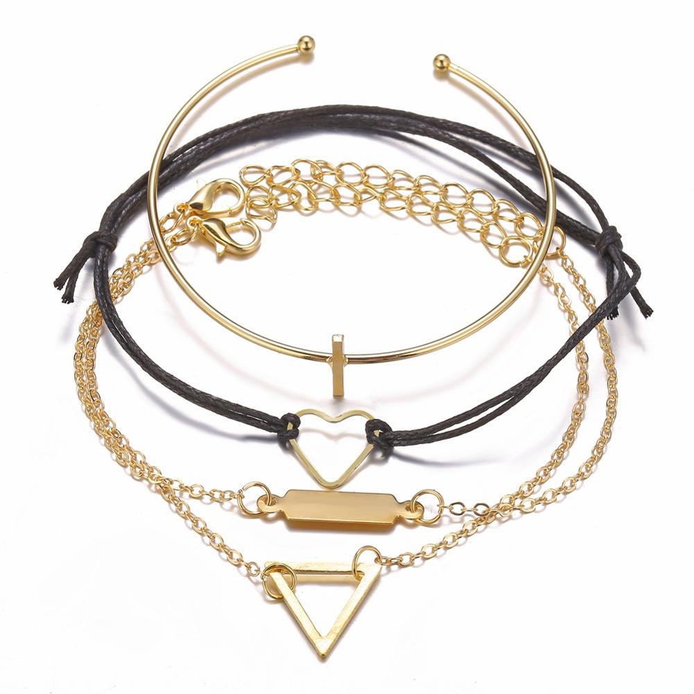 4 Pcs/set Women's  Bracelet Heart-shaped Geometric Retro Simple Style Alloy Bracelet  Golden