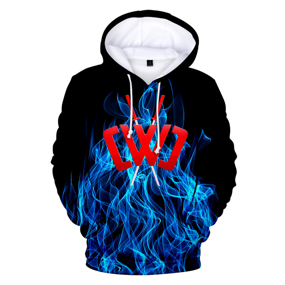 3D Digital Pattern Printed Sweater Long Sleeves Hoodie Top Loose Casual Pullover for Man W style_XL