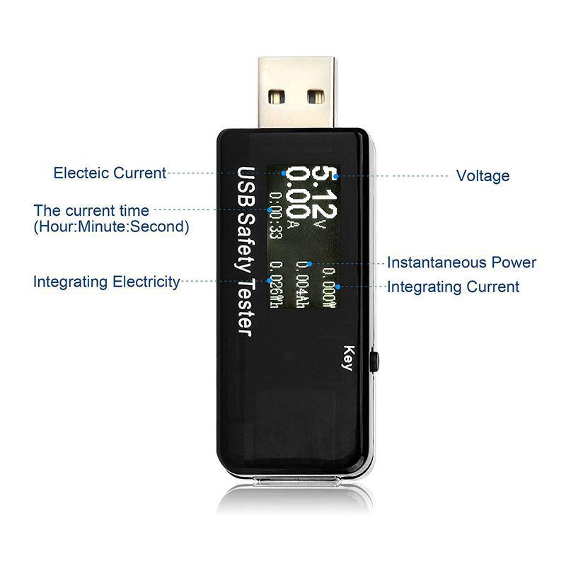 USB Tester DC Voltmeter 5-30V Volt Meter Charger Capacity Indicator Time Display Mobile Battery Power Detector black