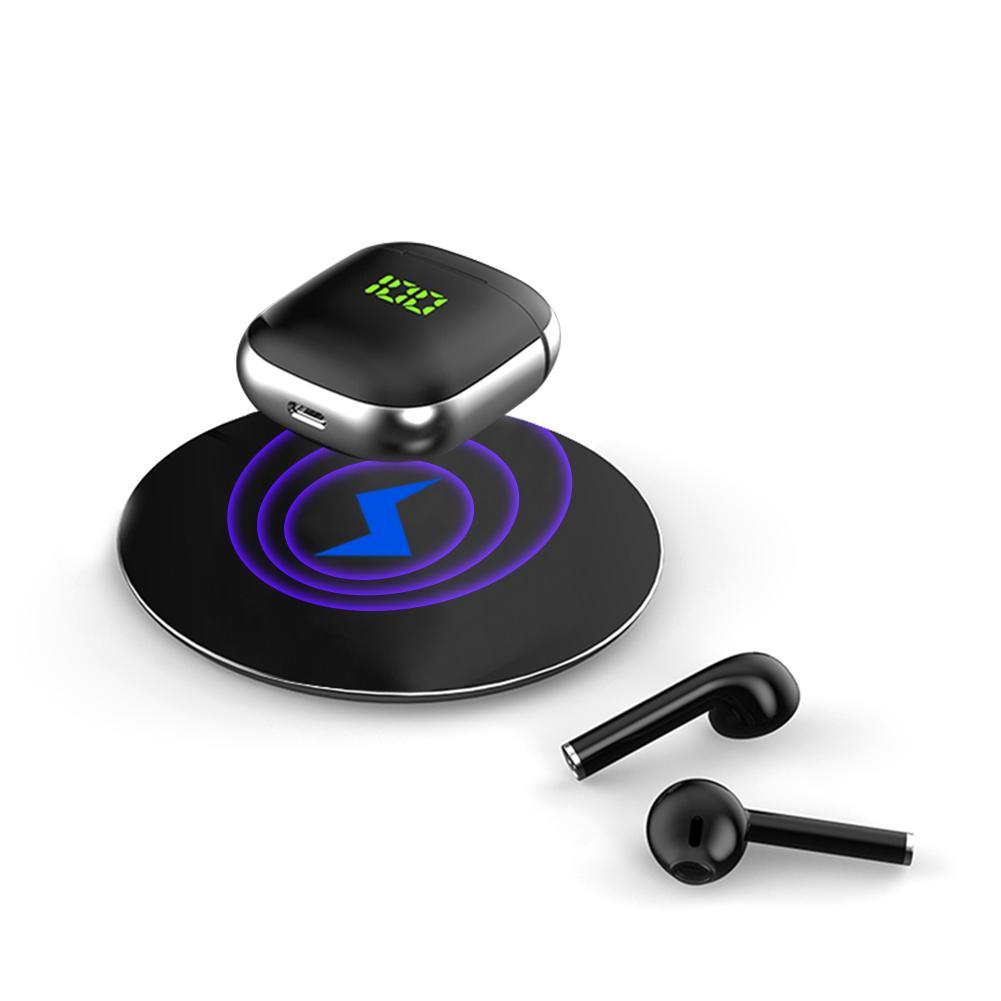 WK60 TWS Bluetooth Earphone Swearproof Earbuds Headset LED Display Wireless Charging Headphones i12 i18 i16 Max Pro TWS Black+Silver