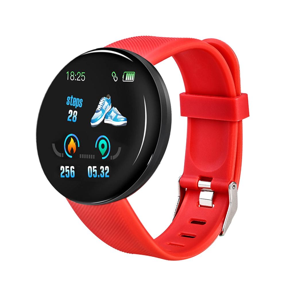 D18 Smart Watch Men Women Blood Pressure Round Smartwatch Waterproof Sport Smart Watch Fitness Track red