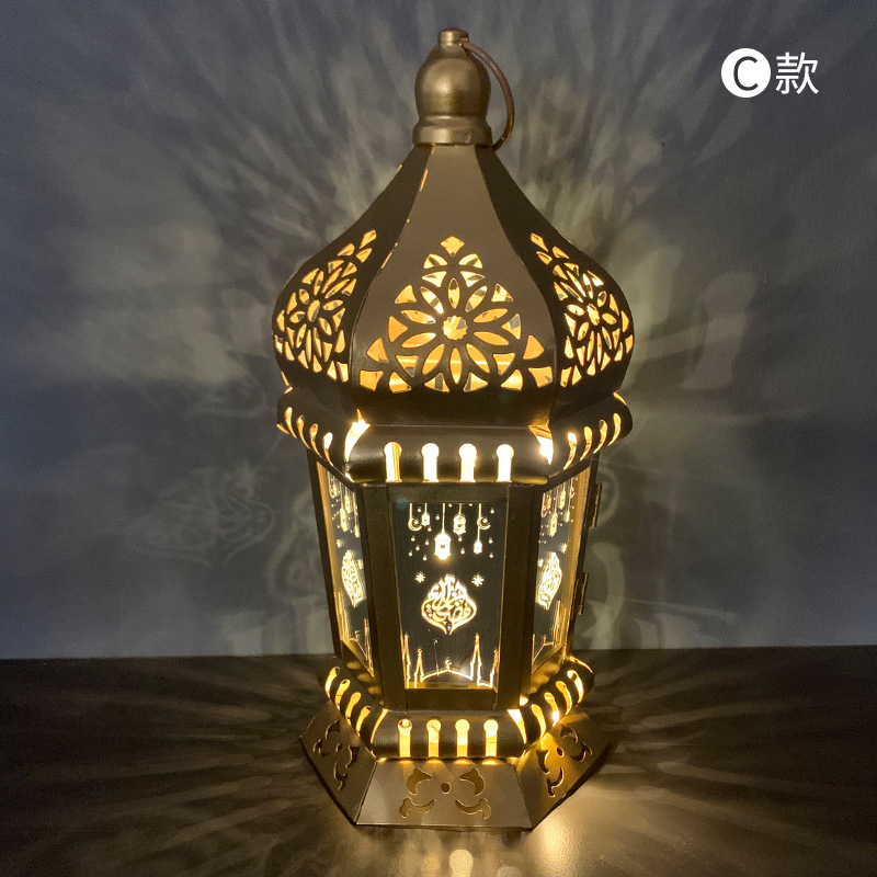 Ranadan Lantern Lamp Decoration Eid Iron Wind Lamp Pendant Arabic Lantern Light Section C_13 * 28cm