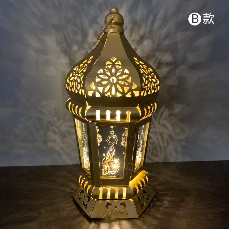 Ranadan Lantern Lamp Decoration Eid Iron Wind Lamp Pendant Arabic Lantern Light Section B_13 * 28cm
