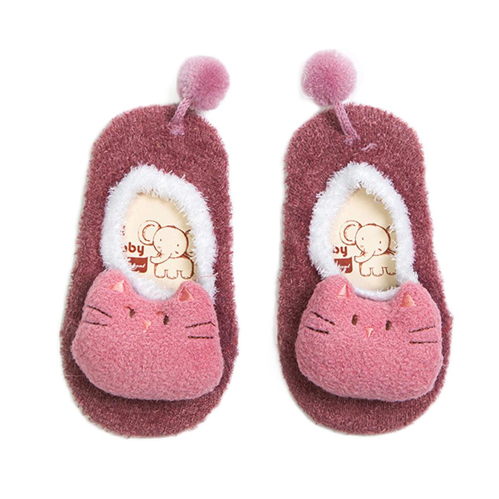 [EU Direct] Baby Winter Thick Warm Feather Yarn Non-slip Floor Socks with Three-dimensional Cartoon Doll