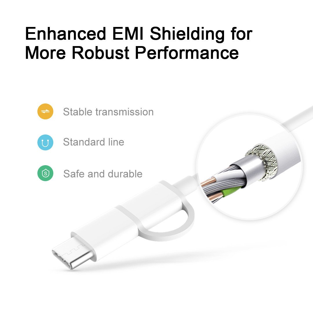 [US Direct] Original ZMI 2-In-1 USB-C and Micro-USB Combo Cable, QC, Sync, Compatible with Thunderbolt 3, for Samsung, Google Nexus, Moto, and LG (3.3 ft, 2 Pack, White) White