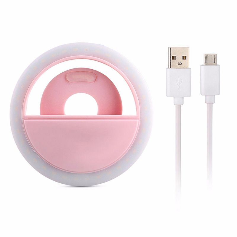 USB Charging LED Self-timer Selfie Ring Light Auxiliary Lighting for Mobile Phone Pink