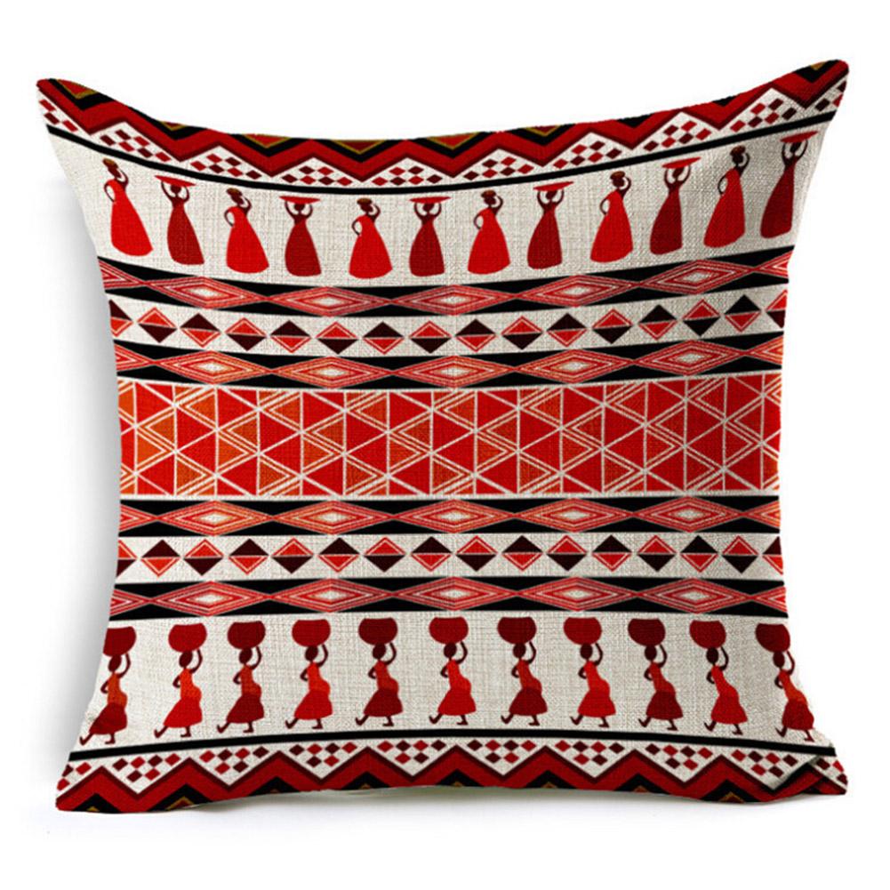 Ethnic Style Patern Printing Linen Pillow Cover Home Car Sofa Decor E_45X45cm