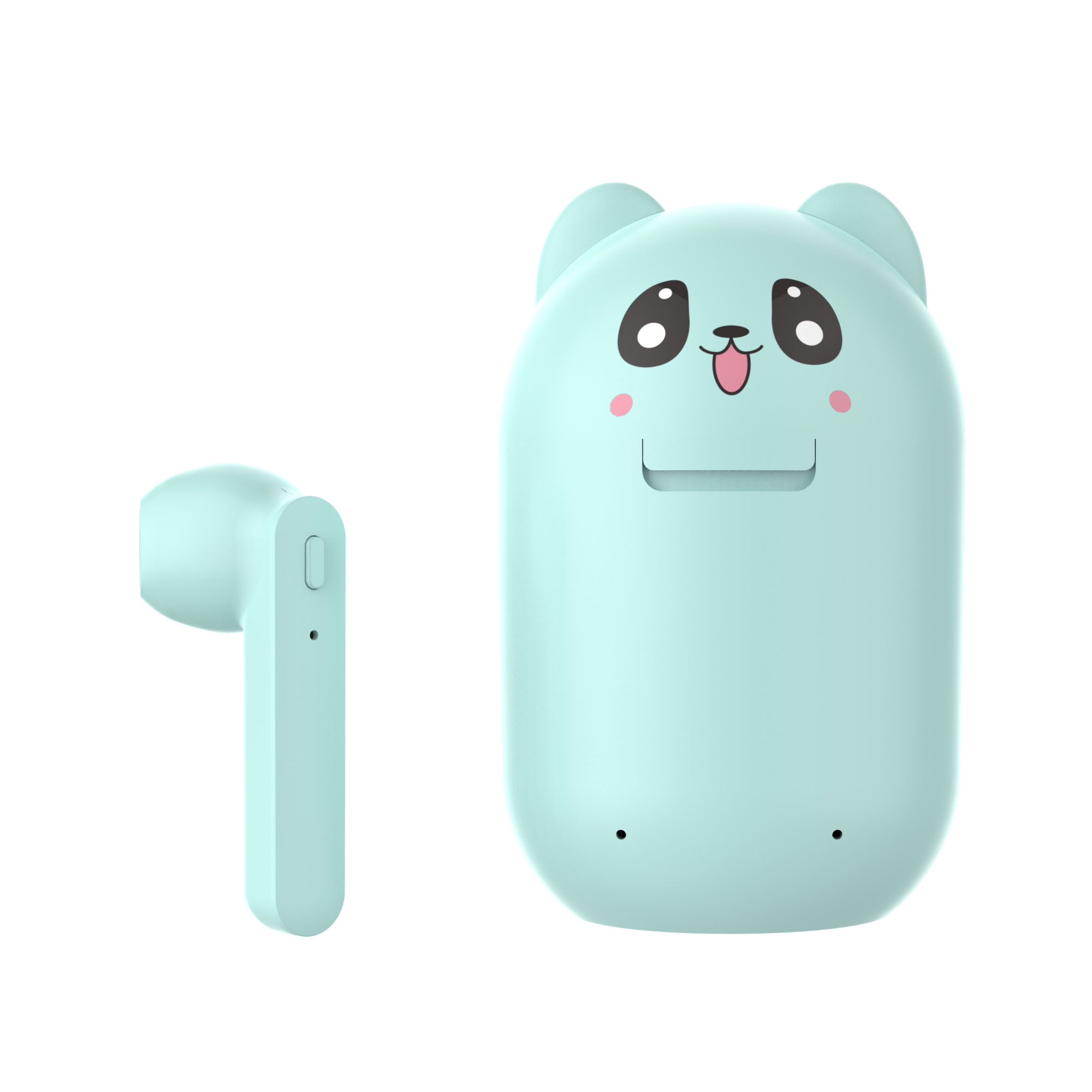 TWS Bluetooth Earphone 5.0 Running Stereo Cartoon Headset with Data Line blue