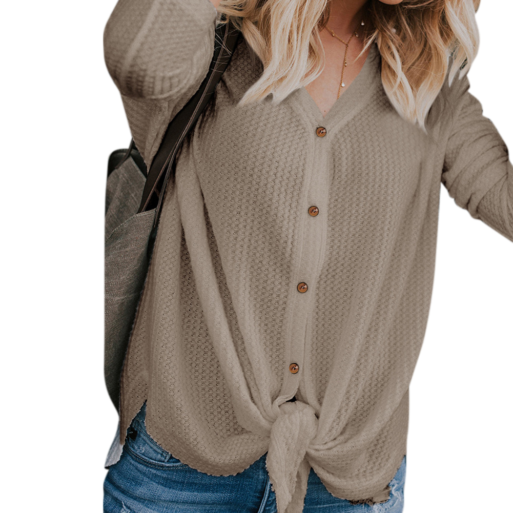 Women Long - sleeved V-neck Cardigan Solid Color Single-breasted Undershirt