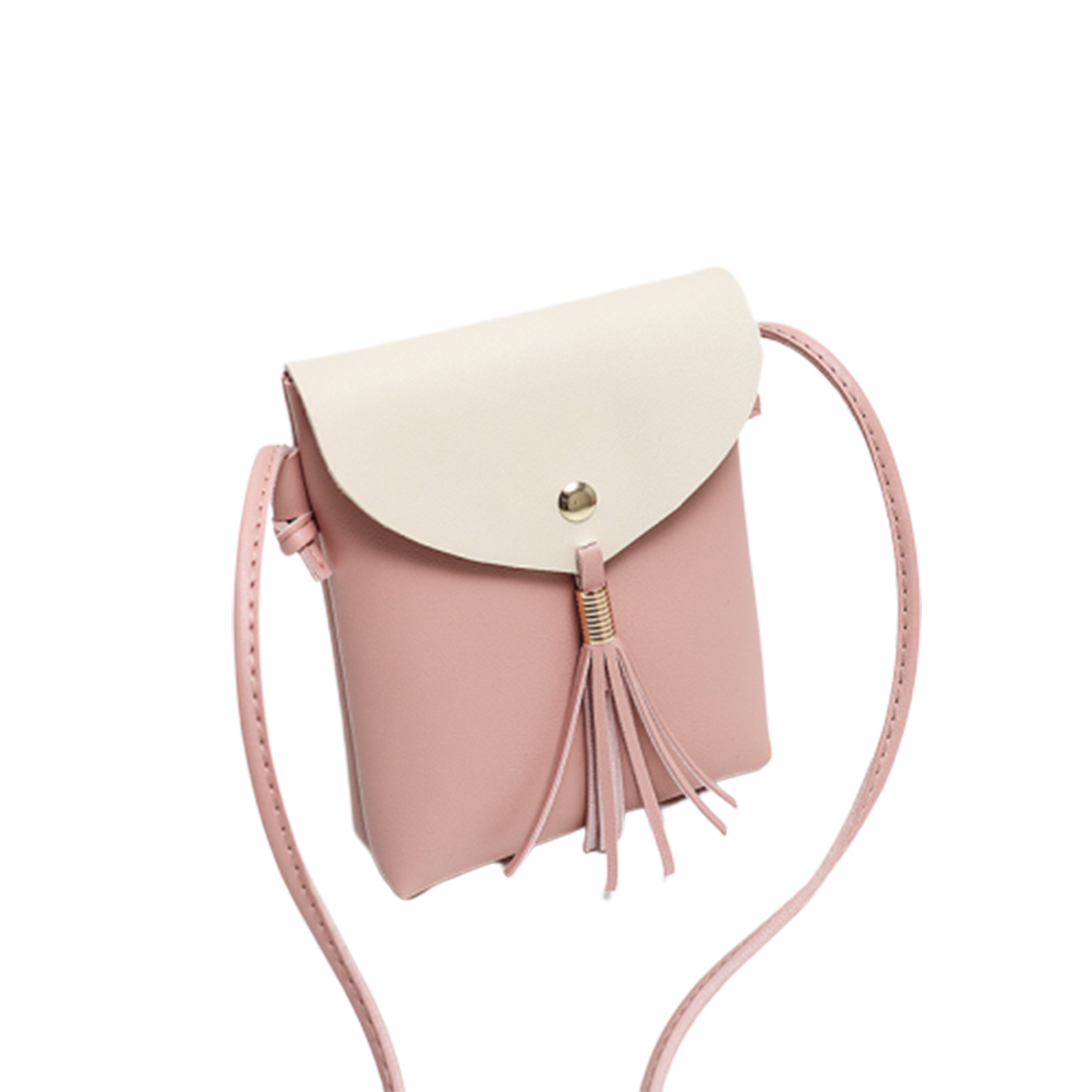 Woman Mini Fringed Fashion Colorful Shoulder pouch Chic Satchel Pink