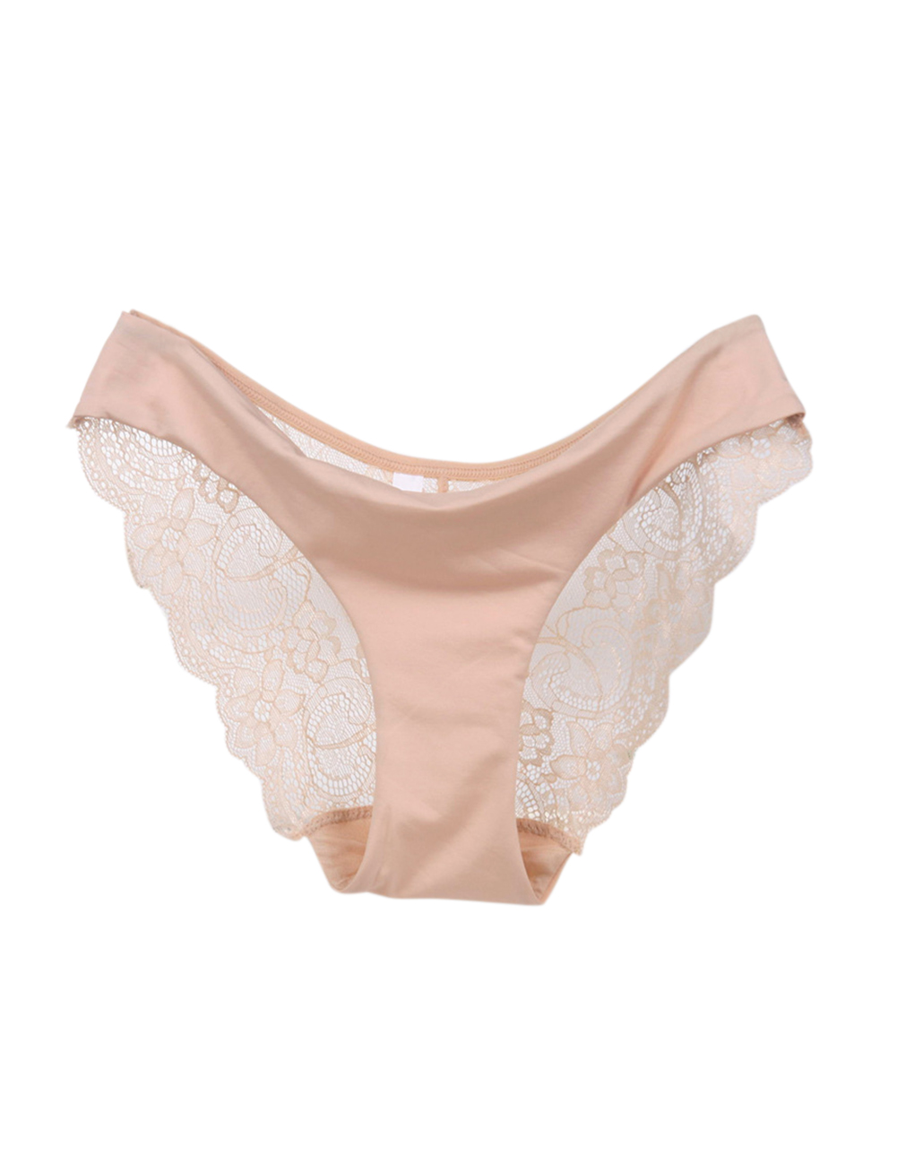 Woman Low Waist Lady Lace Lift Buttocks Large Size Hollow Sexy Briefs Underpants Underwear apricot_XL