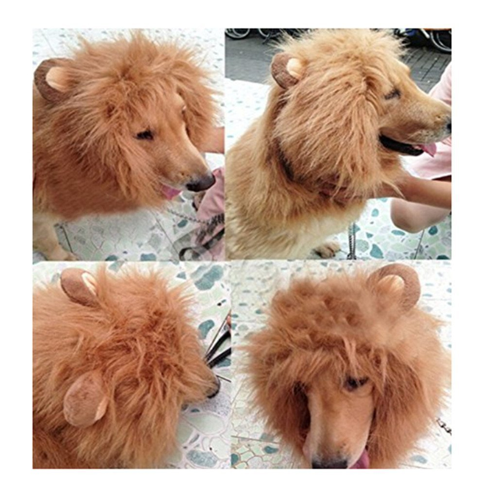 [US Direct] Pet Costume Lion Mane Wig with Ears for Dog Cat Halloween Clothes Fancy Dress up L