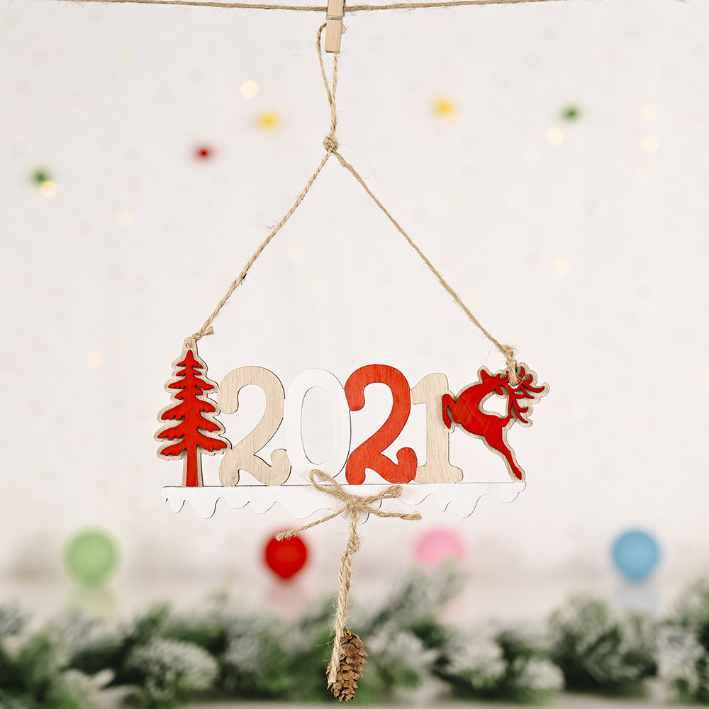 Wooden Hanging Pendant Christmas Decorations 2021 Letter Card Wooden Pendant for Christmas Tree