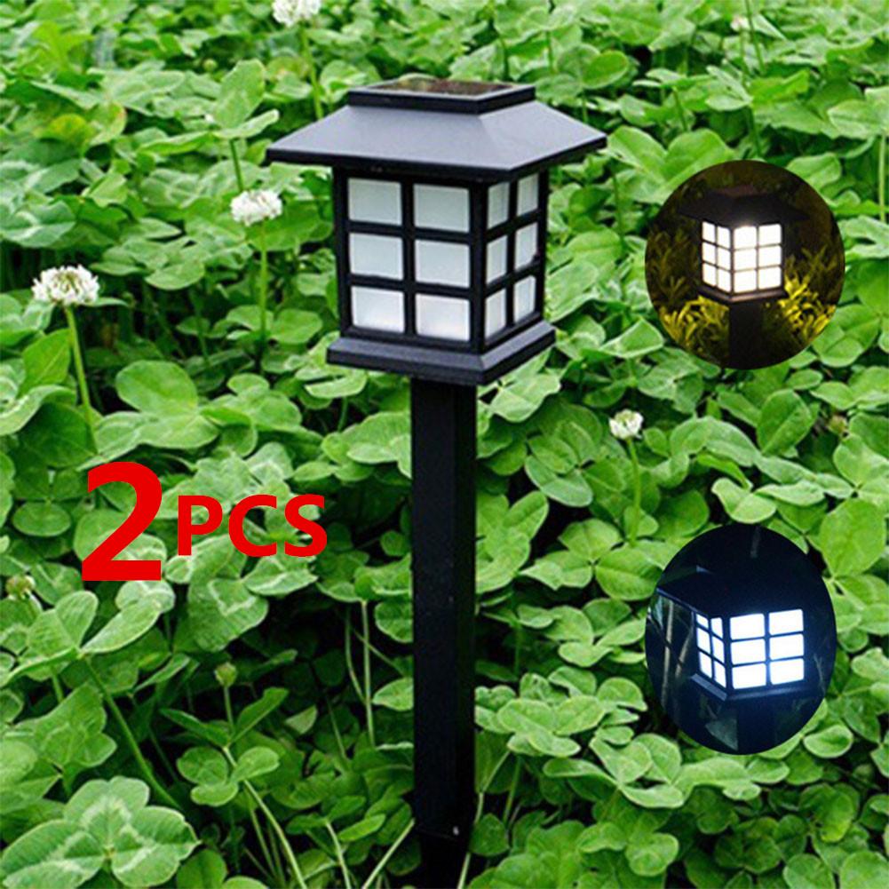 2PCS Light Sensor Solar-Powered Lawn Pin Lamp Yard Garden Light Decoration Small room white light