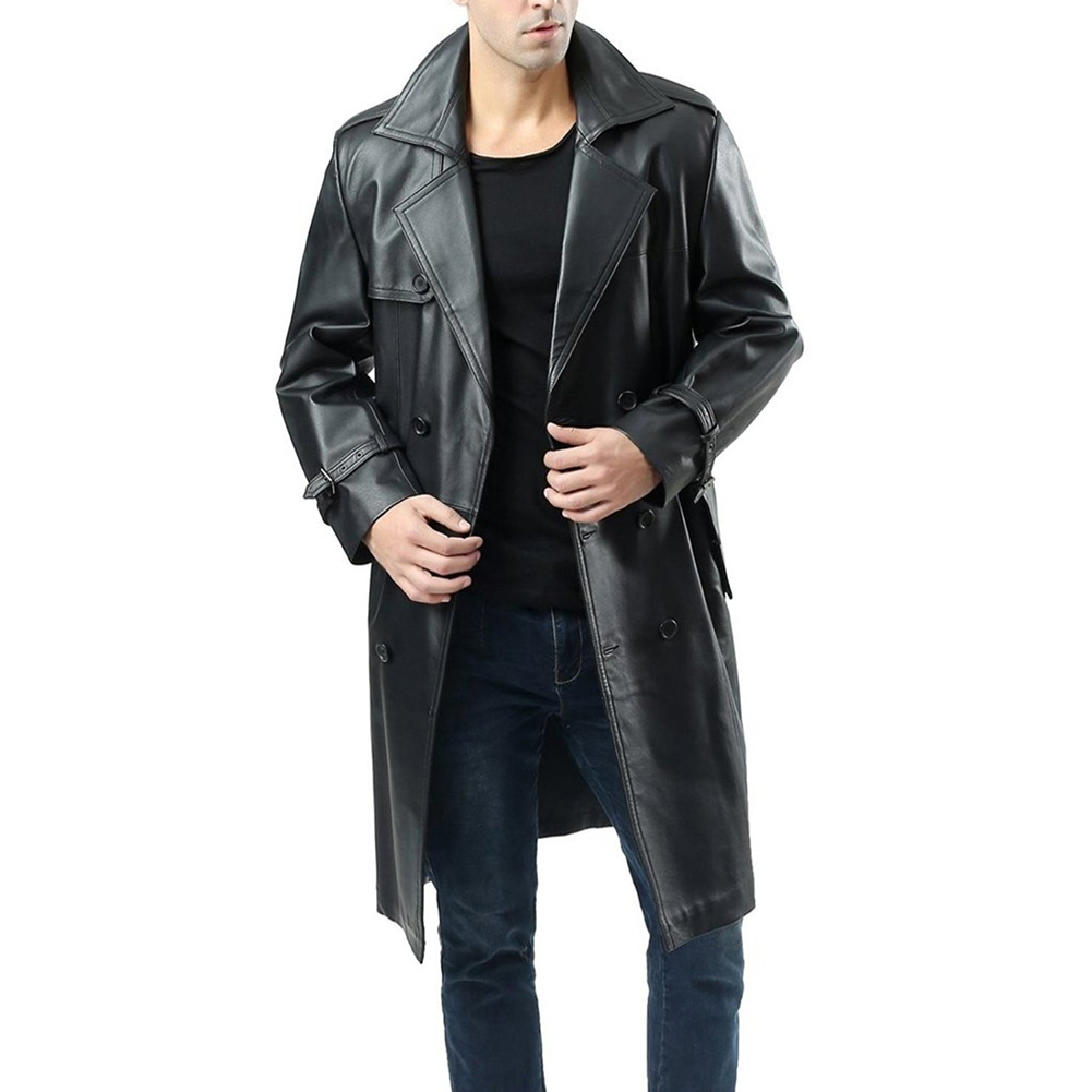 Men's Jacket Autumn and Winter Windbreaker over the Knee  Large Size Casual Leather Jacket Black _L