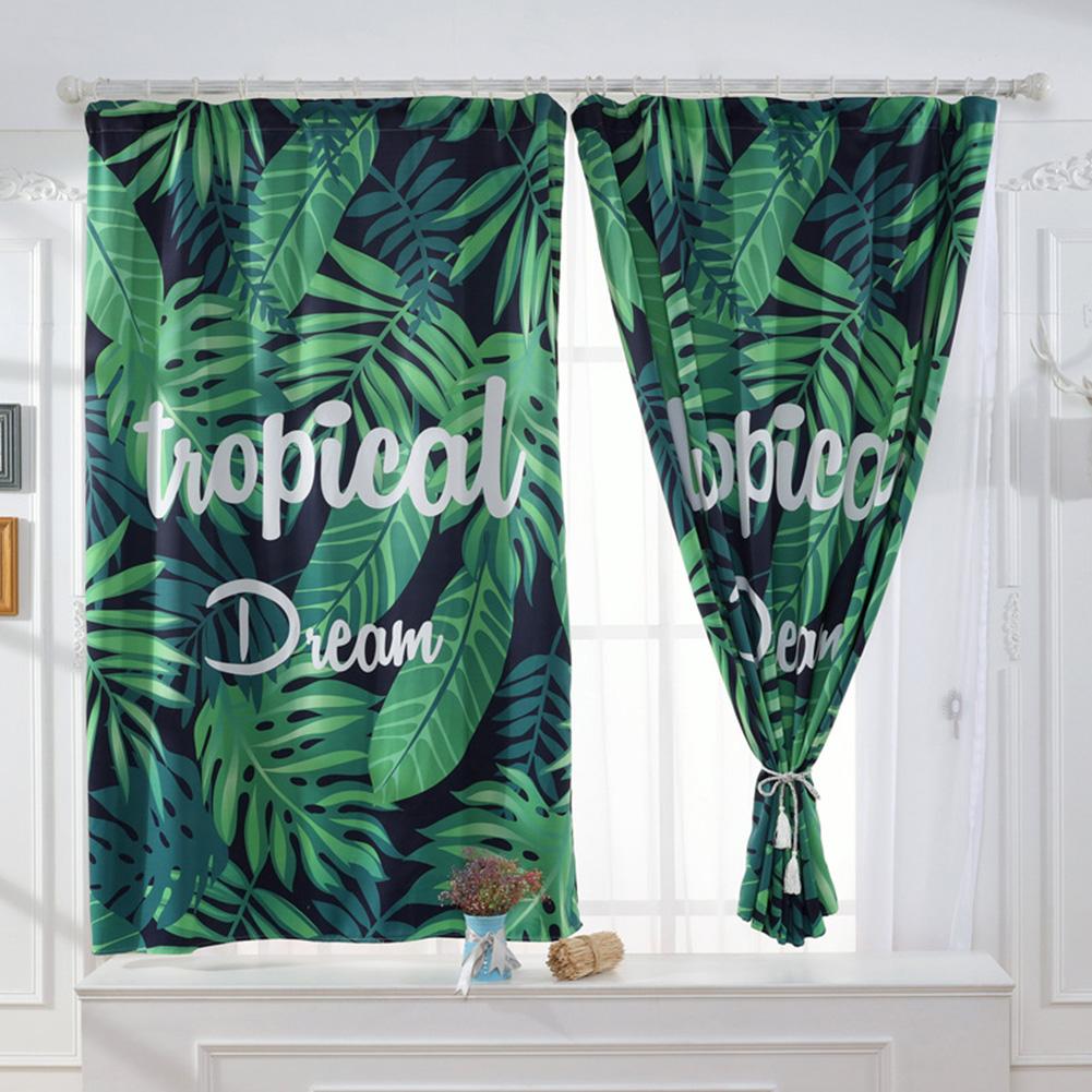Banana Leaves Printed Window Curtain Bay Window Drape Bedroom Living Room Decoration Palm leaf digital print_1.3 * 1.8m high hook