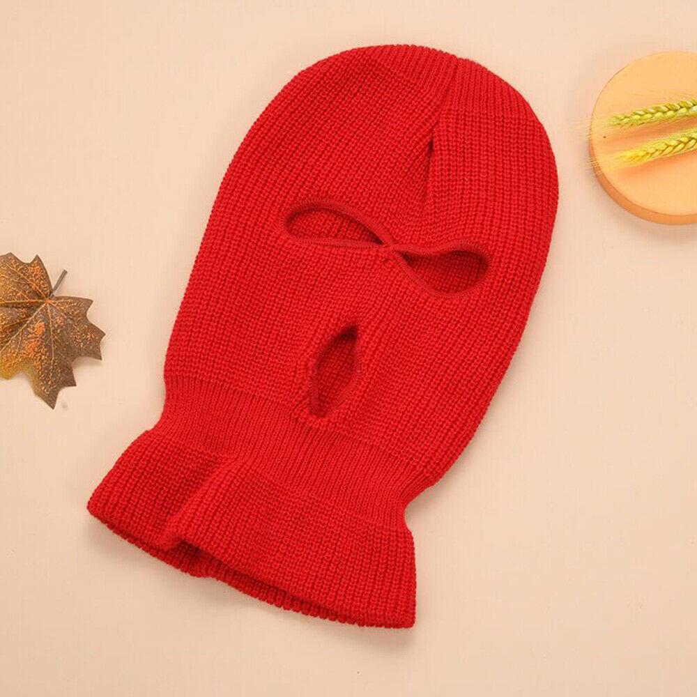 Face Mask Ski Mask Winter Cap 3 Hole Balaclava Hood  Warm Beanie Hat  Three holes scarlet_One size