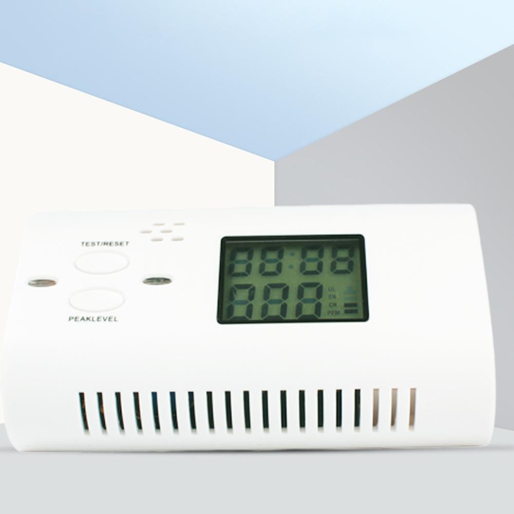 CO Carbon Monoxide Detector Poisoning Gas LCD Voice Alarm LED Sensor Security white