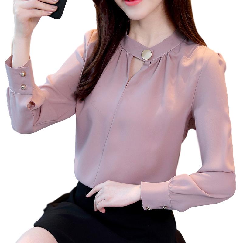 Women Shirt Spring Autumn Loose Stand Collar Shirt Sweet Style Long Sleeve Chiffon Shirt pale pinkish gray_XL