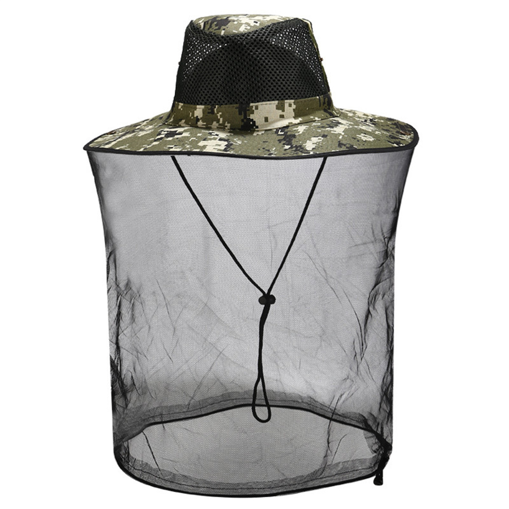 Sunscreen Hat With Mesh For Outdoor Activities Anti Mosquito Bee Head  Cover With Net 4#Camouflage_M(56-58cm)