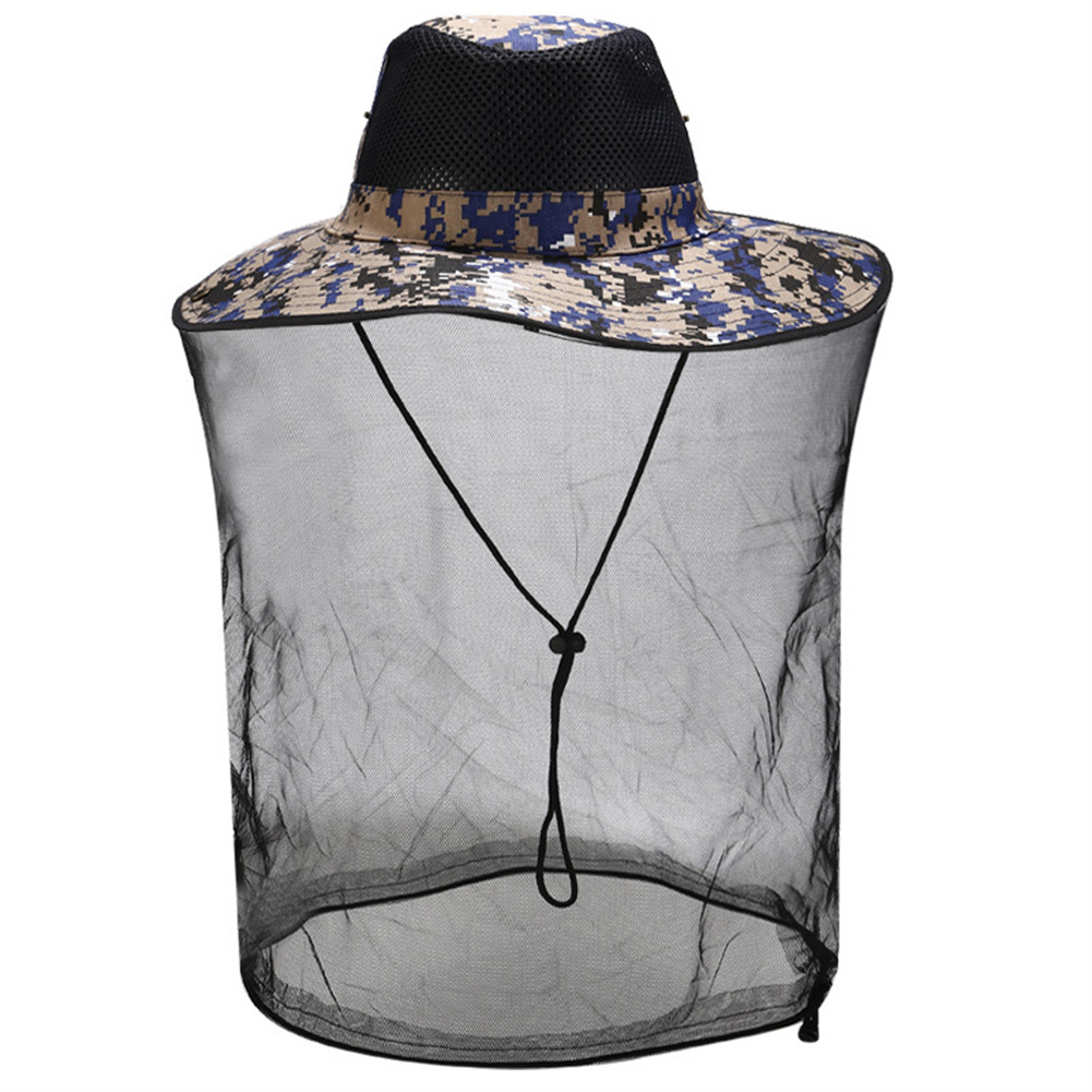 Sunscreen Hat With Mesh For Outdoor Activities Anti Mosquito Bee Head  Cover With Net 2#Camouflage_M(56-58cm)