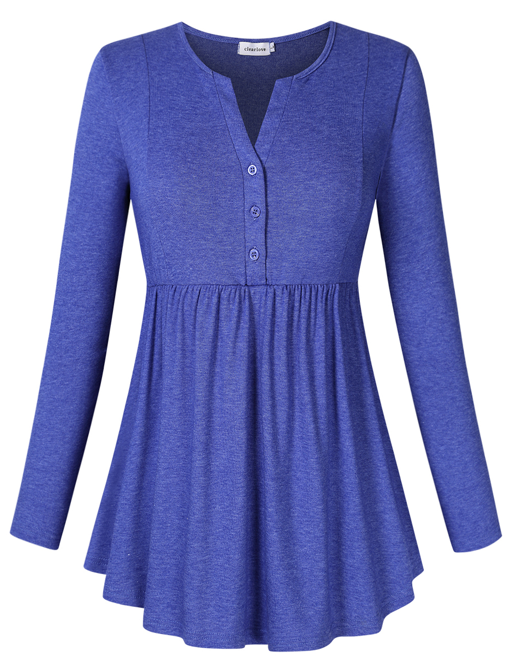 Clearlove Women's Long Sleeve Pleated Button-up V-Neck Shirts Solid Flare Tunic Tops