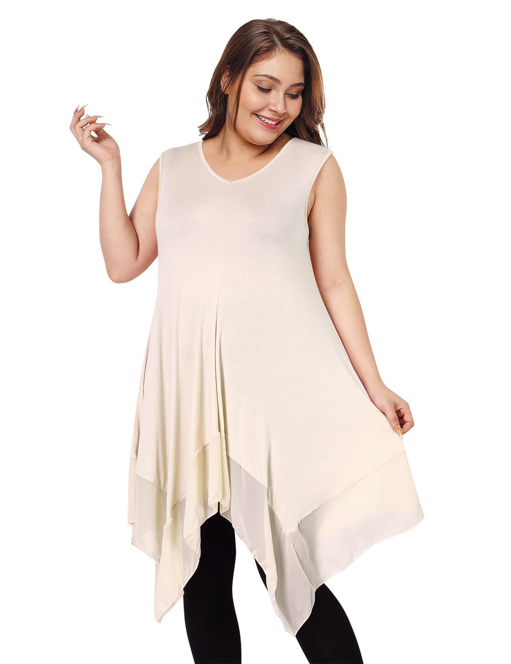 Clearlove Women's Plus Size Solid V Neck Sleeveless Irregular Hem Loose Shirt Dress Top