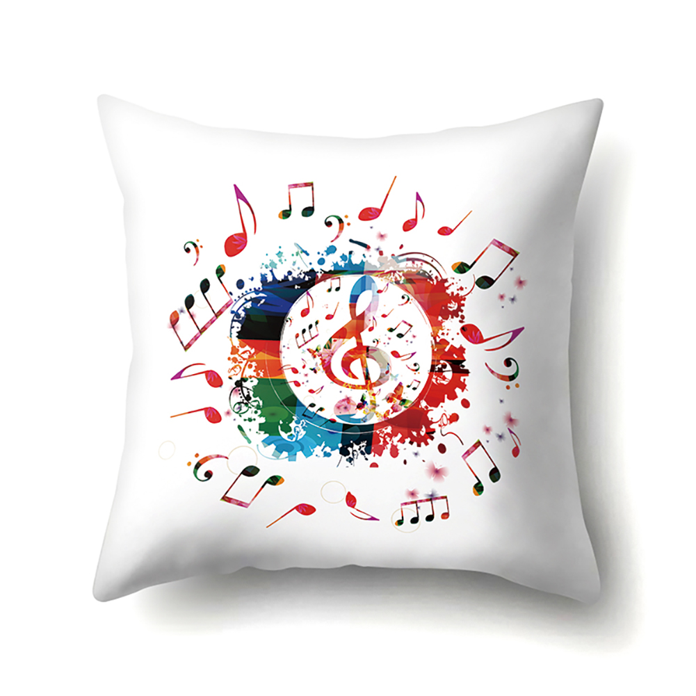 Square Music Note Pillowcase Cushion Throw Pillow Cover Printed Living Room Sofa Pillow Case 45*45cm CCA416(15)