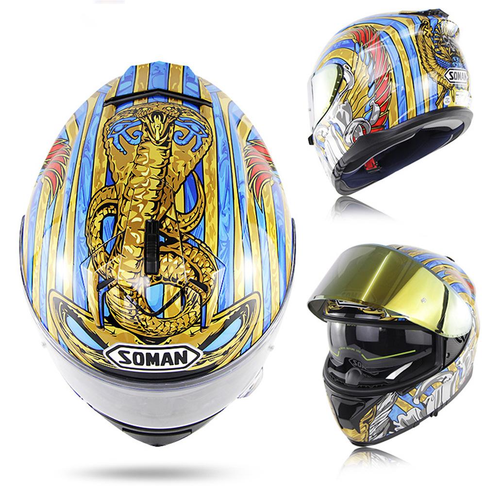 Motorcycle Racing Helmet ECE Standard Four Seasons Double Lens Stylish Full Face Helmet L