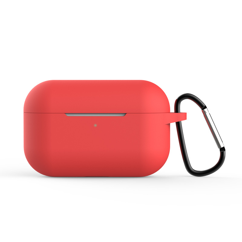 Silicone Case for AirPods Pro Travel Earphone Storage Bag Smooth Surface Dustproof Overall Protection Headset Cover red