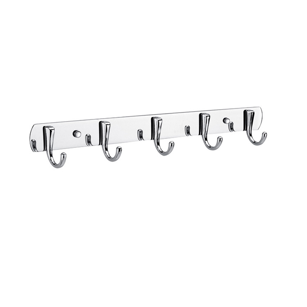 37cm Stainless Steel Clothes Hook Organizer Bathroom Bedroom Wall Towel Coat Hanger 5 row hook