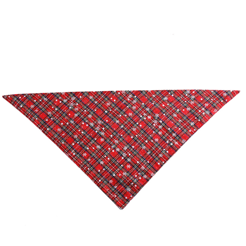 Christmas Plaid Snowflower Printing Pet Scarf Triangular Bibs for Dogs Cats Red and white snowflakes_S