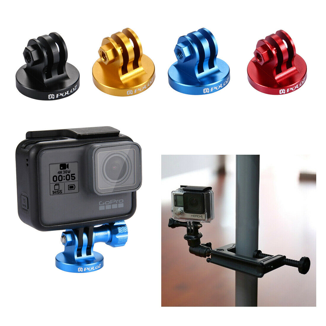 For GoPro HERO 6 5 4 3 3+ 2 1 PULUZ CNC Camcorder Aluminum Tripod Mount Adapter black