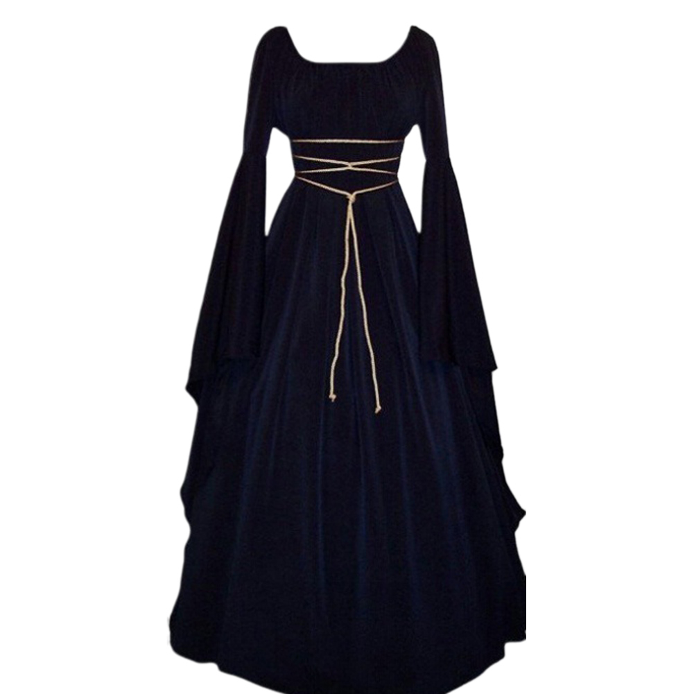 Female Royal Style Long Dress Long Sleeve Round Collar Irregular Cosplay Dress for Halloween Party navy blue_M