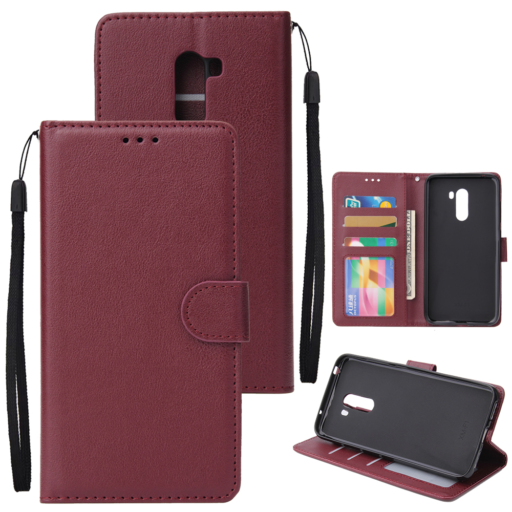 For Xiaomi Pocophone F1 Flip-type Leather Protective Phone Case with 3 Card Position Buckle Design Phone Cover  Red wine