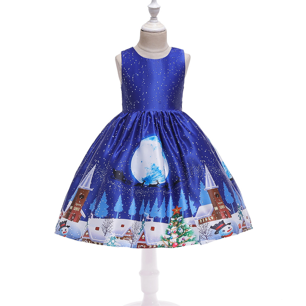 Girls Dress Christmas Short-sleeve Printed Satin Dress for 3-9 Years Old Kids Figure 4_120cm