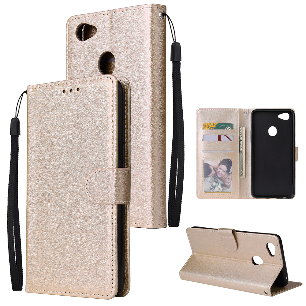 For OPPO F7 Wallet-type PU Leather Protective Phone Case with Buckle & 3 Card Position Gold