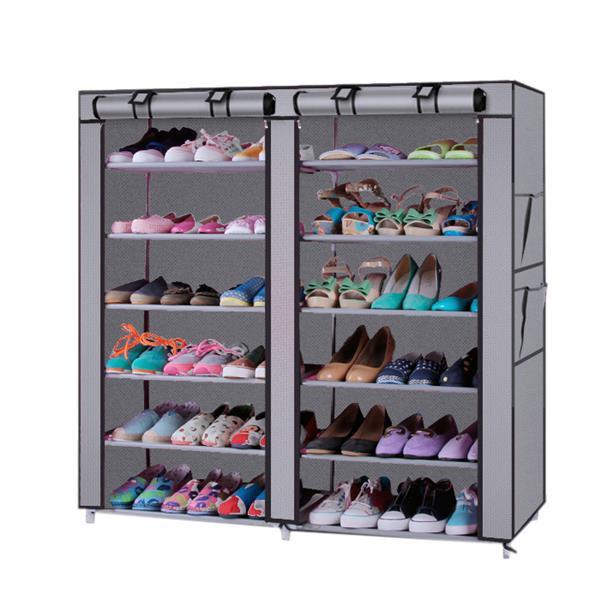 [US Direct] Non-woven Shoe  Rack Organizer 6  Tier Storage Standing Shoes Shelves gray