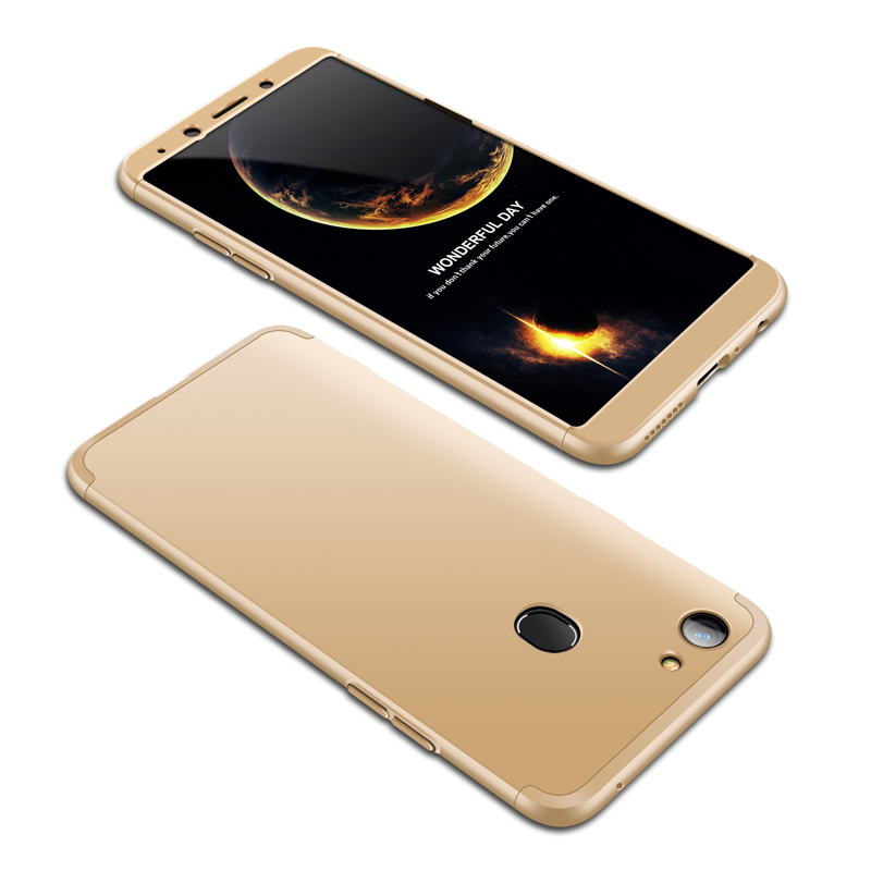 For OPPO A73/F5/F5 Youth/A75 Taiwan Slim 3 in 1 Hybrid Hard Case Full Body 360 Degree Protection Back Cover Gold