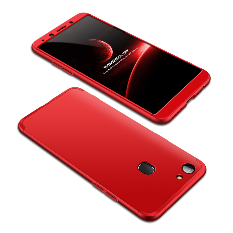 For OPPO A73/F5/F5 Youth/A75 Taiwan Slim 3 in 1 Hybrid Hard Case Full Body 360 Degree Protection Back Cover red