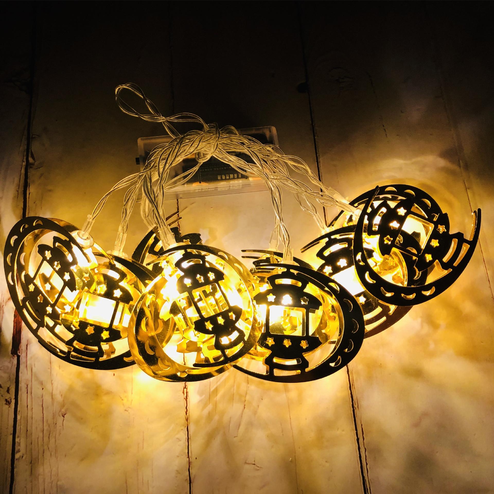 LED String Lights Ramadan Star Moon Party Eid Mubarak Ramadan Decorations Hanging Pendant Warm White