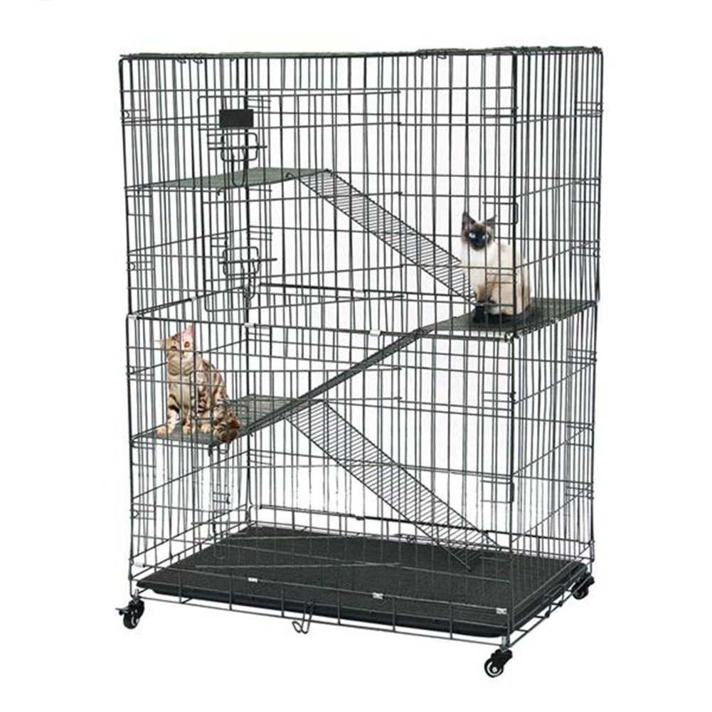 [US Direct] Pet Wire Cage Folding Game Fence Movable Cat Nest With Climbing Ladder Silver