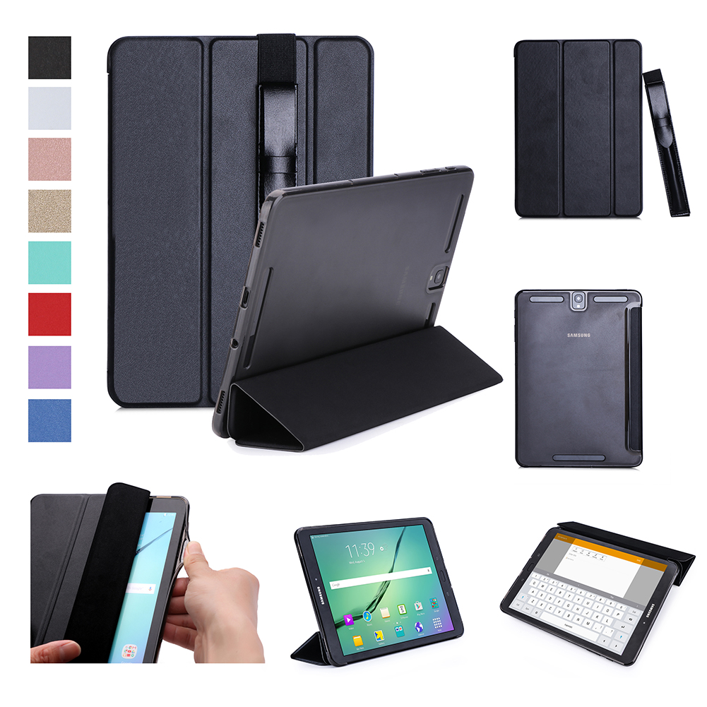 For Samsung tab S3 9.7 inch T820/T825 PU Leather Protective Case with Pen Bandage Sleep Function black