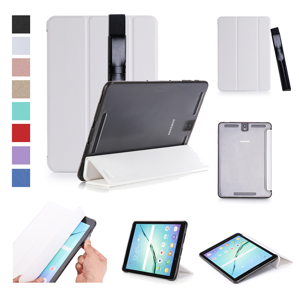 For Samsung tab S3 9.7 inch T820/T825 PU Leather Protective Case with Pen Bandage Sleep Function white