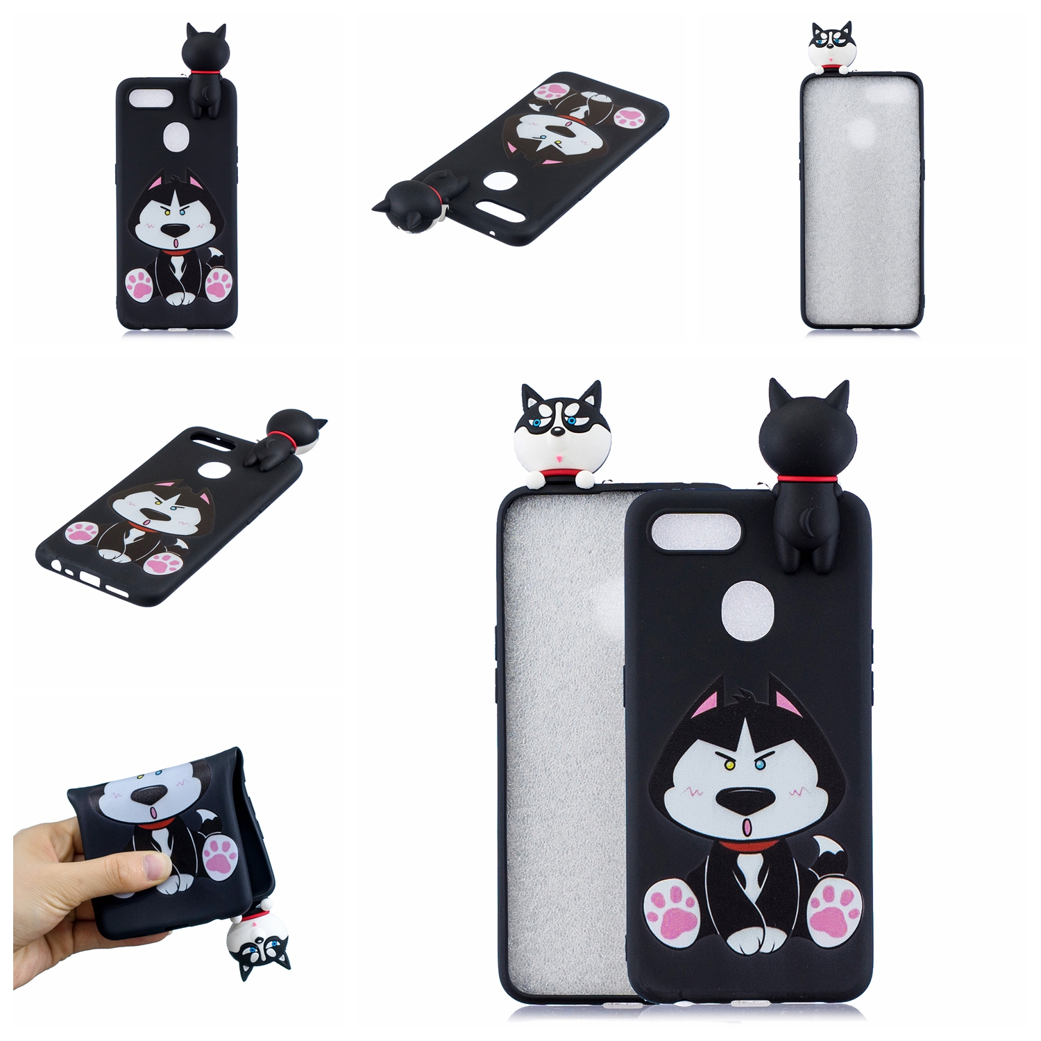For OPPO F9/F9 PRO 3D Cute Coloured Painted Animal TPU Anti-scratch Non-slip Protective Cover Back Case cute husky
