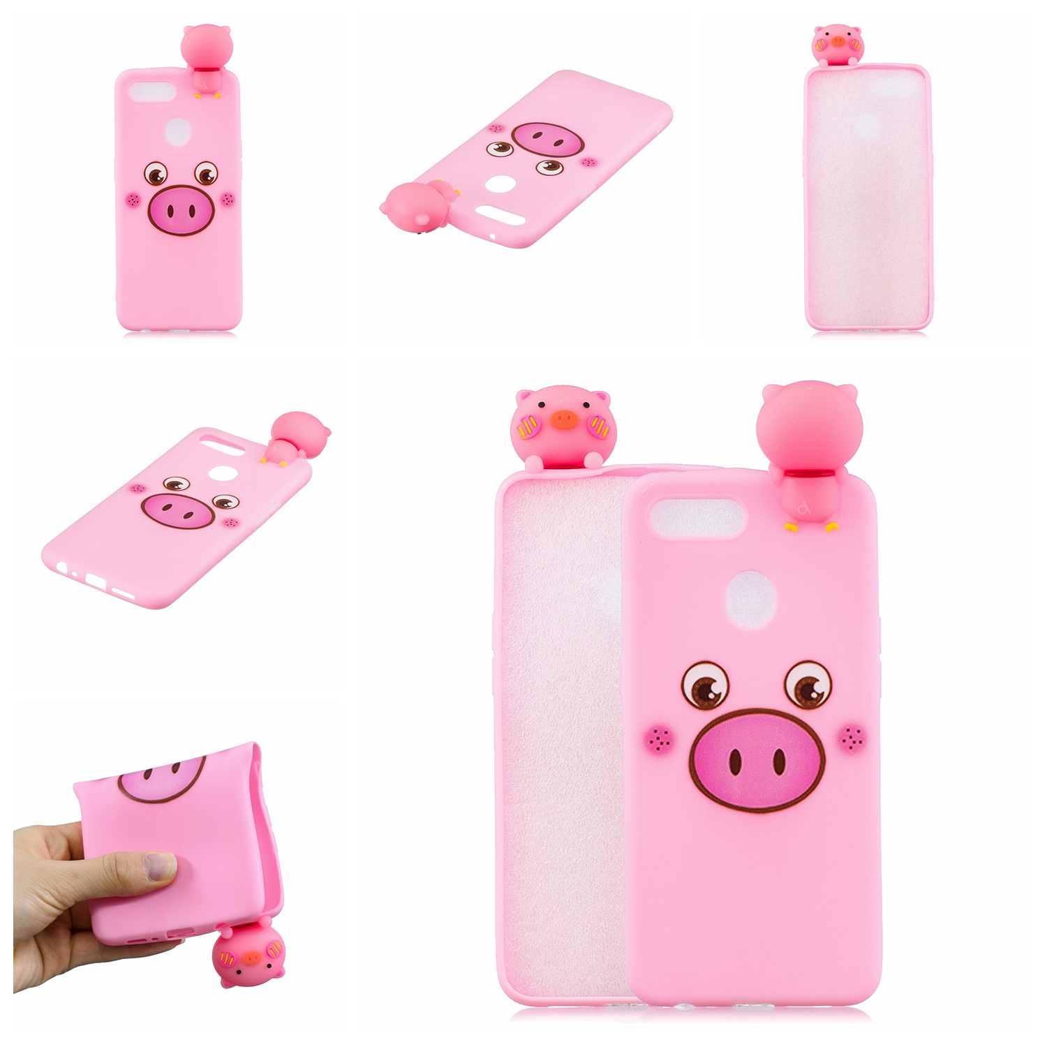 For OPPO F9/F9 PRO 3D Cute Coloured Painted Animal TPU Anti-scratch Non-slip Protective Cover Back Case Small pink pig