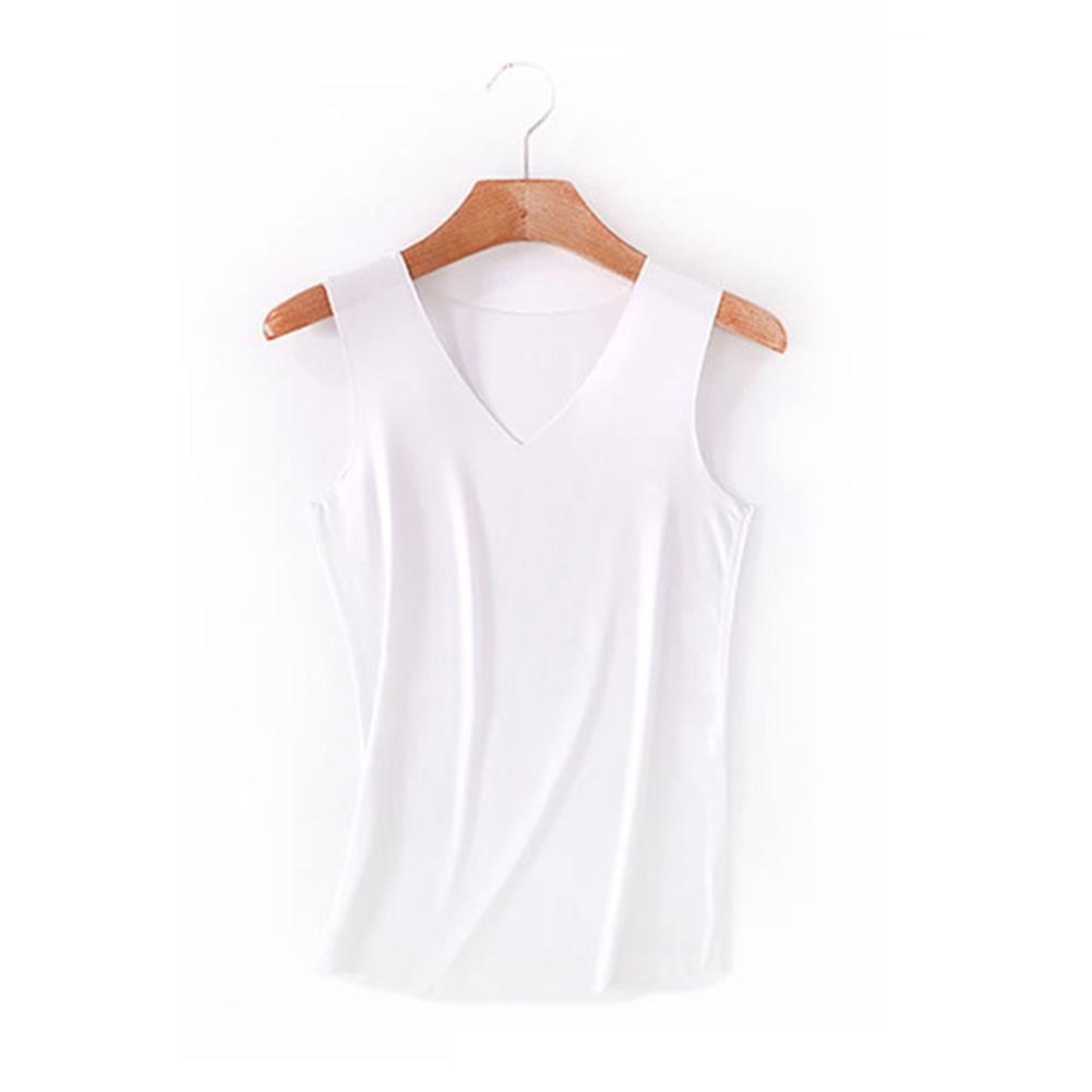 Women Solid Color Traceless Slim Vest